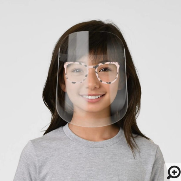 Tiger Print Blush Pink & Abstract Pattern Glasses Kids' Face Shield
