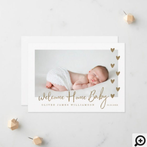 Welcome Home Baby Modern Minimal Gold Hearts Photo Announcement