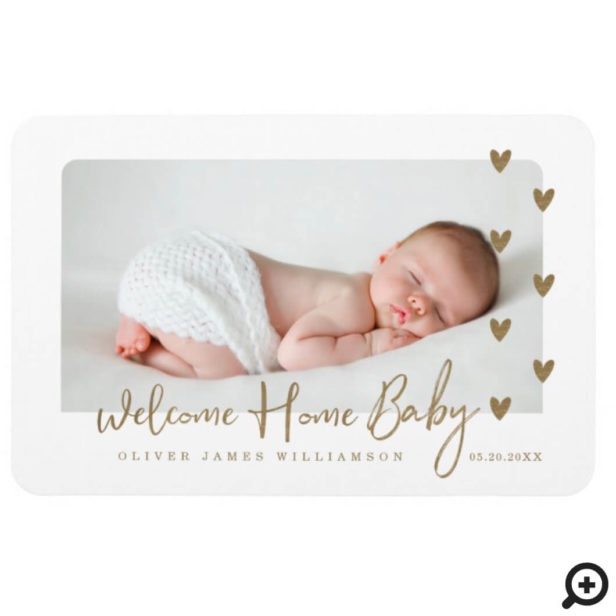 Welcome Home Baby Modern Minimal Gold Hearts Photo Magnet
