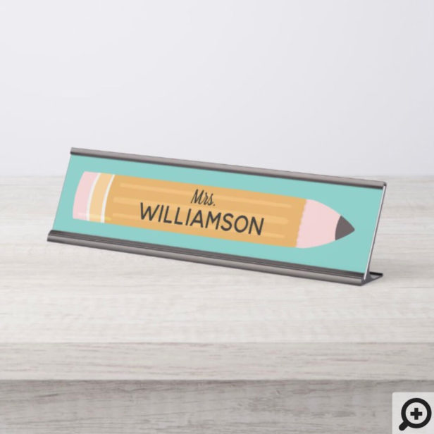 Yellow Writing Pencil Personalized Teacher Desk Name Plate