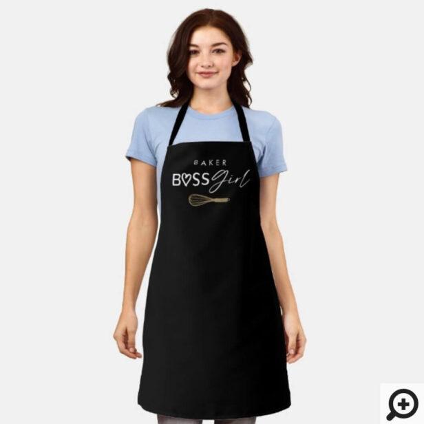 Baker Boss Girl Stylish Brush Script Black Apron