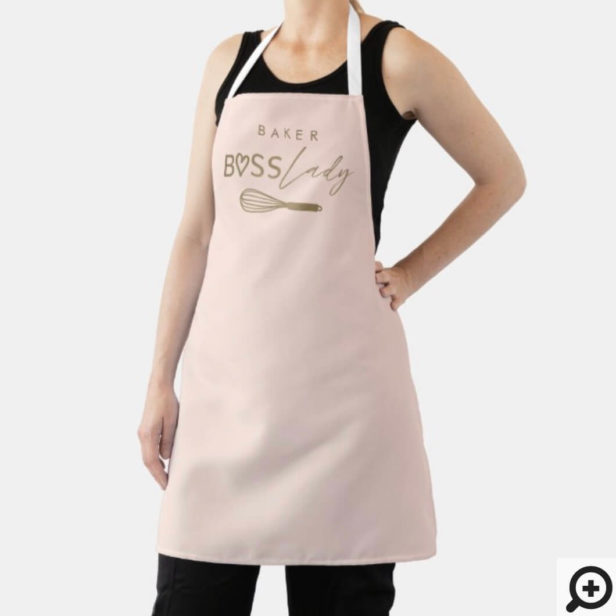Baker Boss Lady Stylish Brush Script Pink & Gold Apron