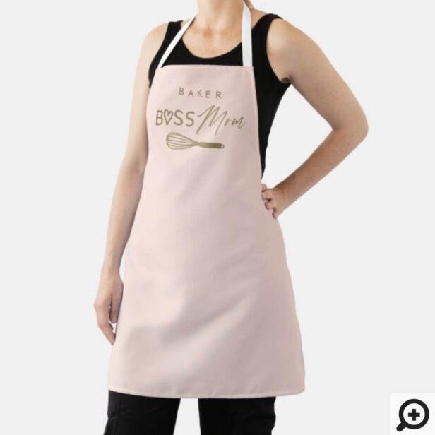 Baker Boss Mom Stylish Brush Script Pink & Gold Apron