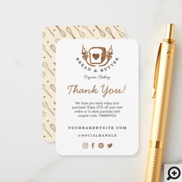 Bakery Loaf Of Bread Logo Thanks For Your Purchase Enclosure Card