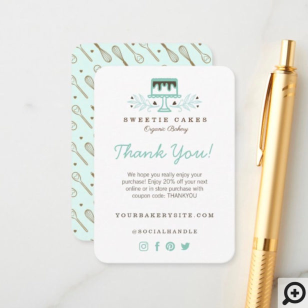 Bakery Whisk Logo Thank You For Your Purchase Enclosure Card