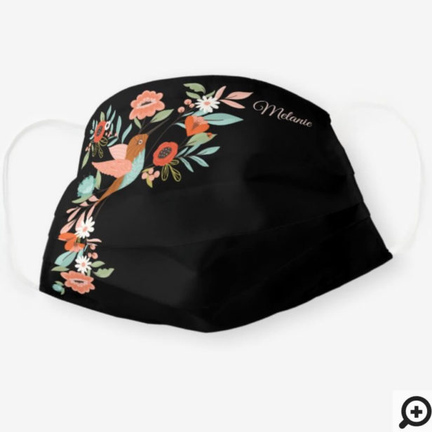 Beautiful Hummingbirds Floral Blossom Garden Black Cloth Face Mask
