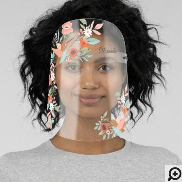 Beautiful Hummingbirds Floral Blossom Garden Face Shield