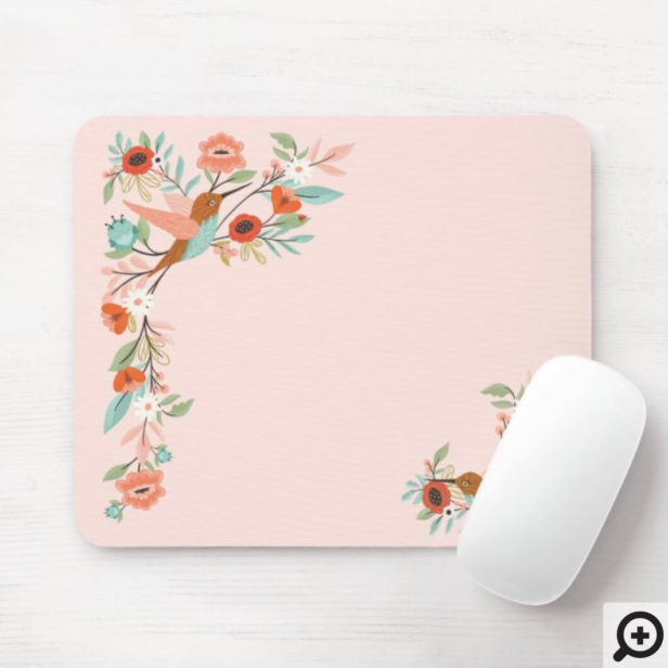 Beautiful Hummingbirds Floral Blossom Garden Pink Mouse Pad