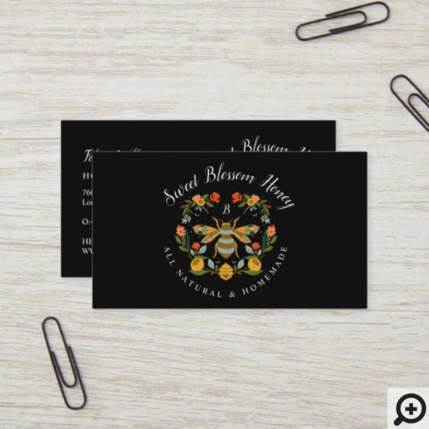 Bees & Bloom Floral & Decorative Honey Bee Black Business Card