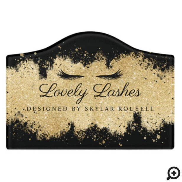 Black & Gold Glitter Eyelash Beauty Salon Logo Door Sign