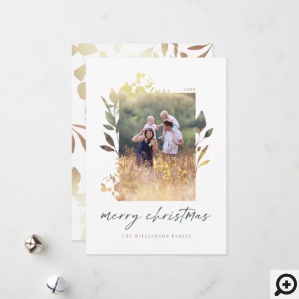 Bohemian Chic Pressed Foliage Family Photo Frame Holiday Card