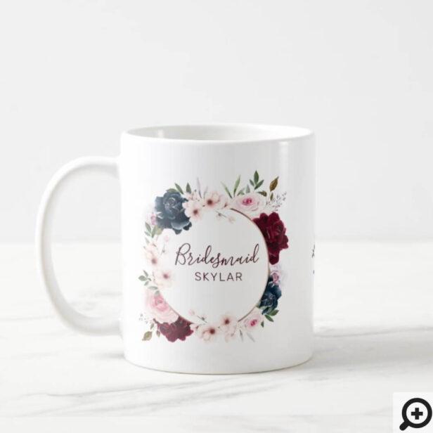 Bridesmaid Burgundy & Navy Rose Watercolor Wreath Coffee Mug