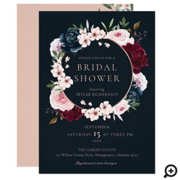 Burgundy Navy Rose Watercolor Wreath Bridal Shower Invitation