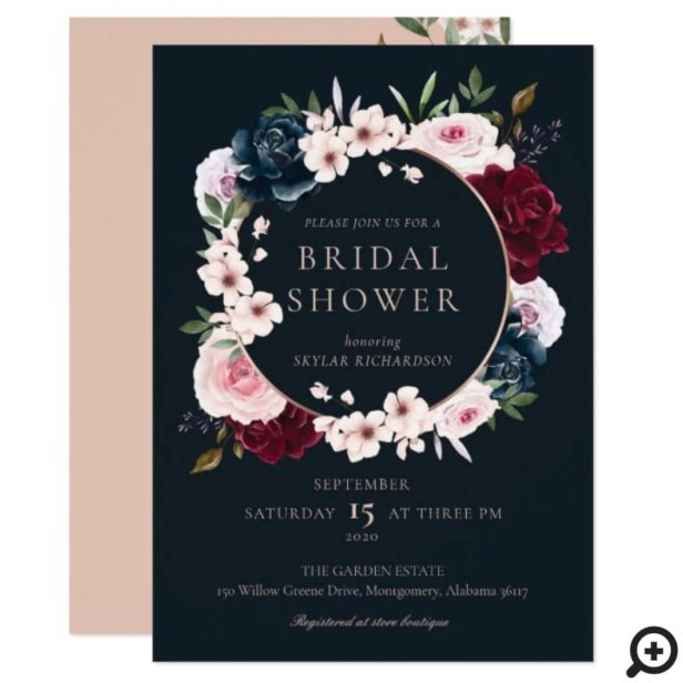 Burgundy Navy Rose Watercolor Wreath Bridal Shower Invitation