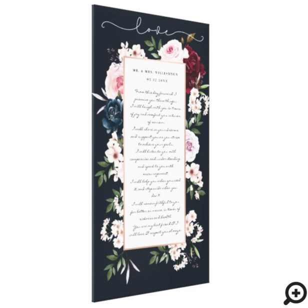 Burgundy & Navy Watercolor Floral Wedding Vows Canvas Print