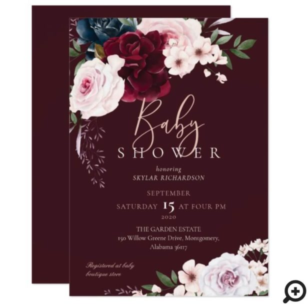 Burgundy & Navy Watercolor Florals Baby Shower Burgundy Invitation