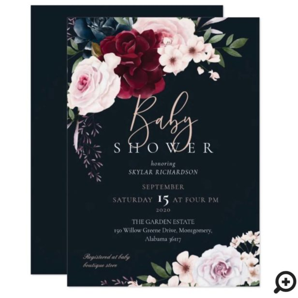 Burgundy & Navy Watercolor Florals Baby Shower Navy Invitation