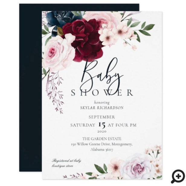Burgundy & Navy Watercolor Florals Baby Shower Invitation