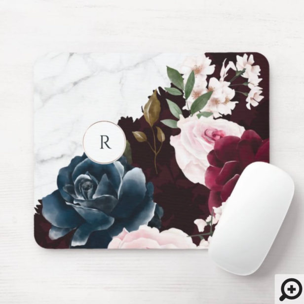 Chic Burgundy & Marble Watercolor Floral Monogram Mouse Pad