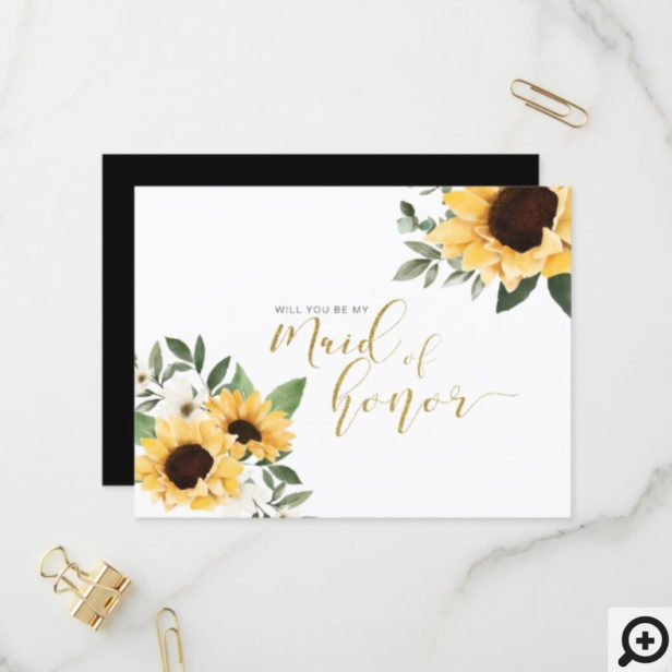 Chic Floral Sunflower Will You Be Maid of Honor Invitation Postcard