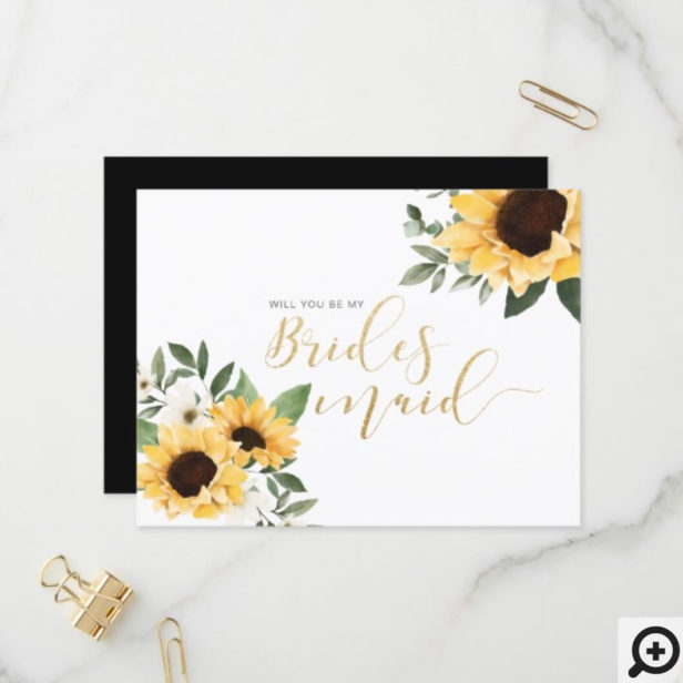 Chic Floral Sunflower Will You Be My Bridesmaid? Invitation Postcard