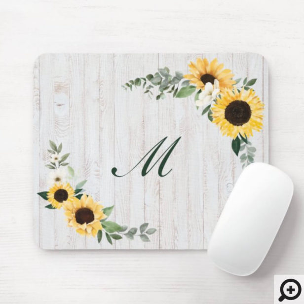 Chic Watercolor Sunflower Wreath Whitewood Initial Mouse Pad