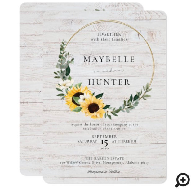 Chic Watercolor Sunflower Wreath Whitewood Wedding Invitation
