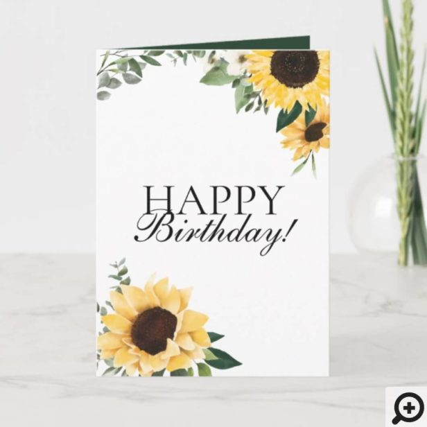 Chic Wildflower Yellow Sunflower Happy Birthday Card
