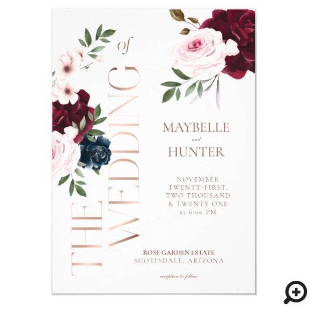 Classy Bold Burgundy & Navy Watercolor Florals White Invitation