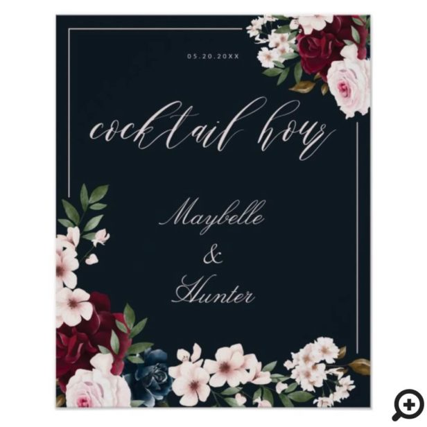 Cocktail Hour Watercolor Burgundy Navy Floral Navy Poster