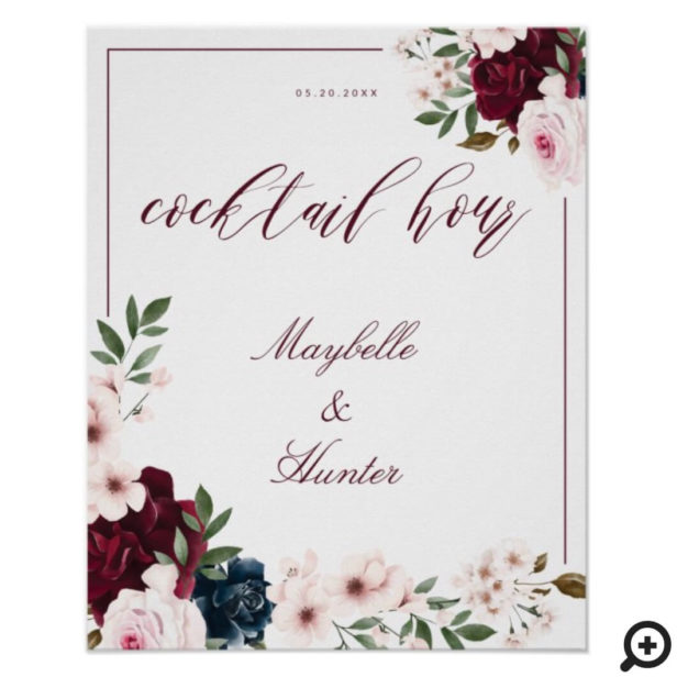 Cocktail Hour Watercolor Burgundy Navy Floral White Poster