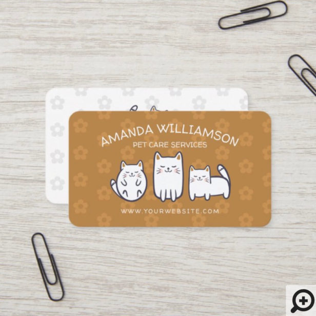 Cute Adorable Kitty Cat Pet Care Services Golden Business Card
