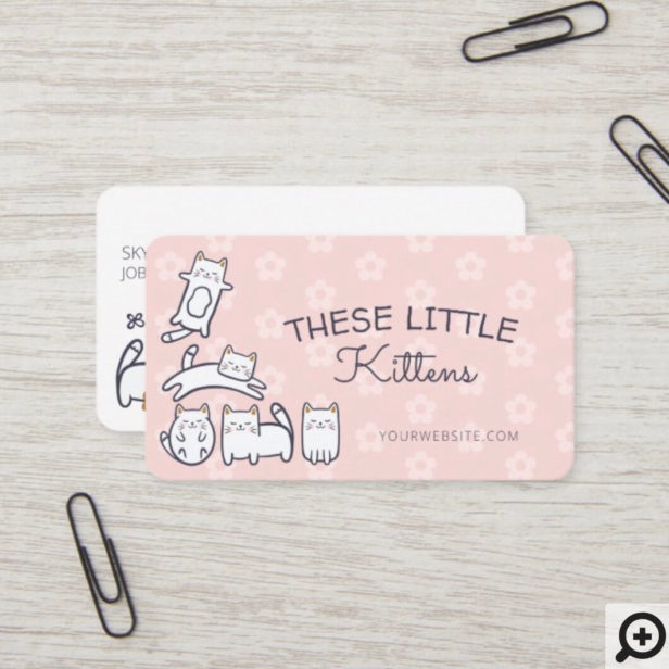 Cute Adorable Kitty Cat Pet Care Services Pink Business Card