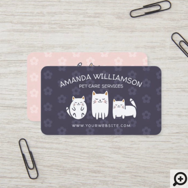 Cute Adorable Kitty Cat Pet Care Services Purple Business Card
