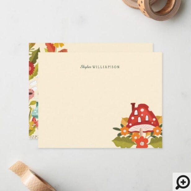 Cute Fairy Garden Autumn Leafs Mushroom & Pumpkin Note Card