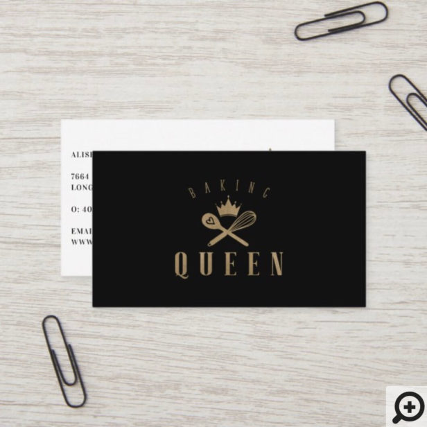 Elegant Baking Queen Bakers Whisk & Spoon Crown Business Card