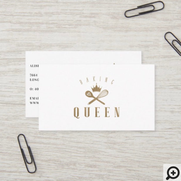 Elegant Baking Queen Whisk & Spoon Crown White Business Card