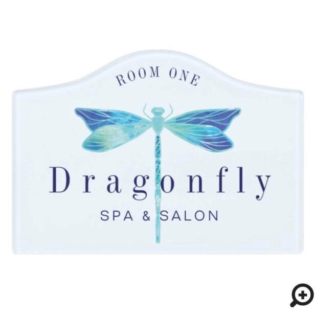 Elegant Blue & Aqua Watercolor Dragonfly Logo Room Door Sign