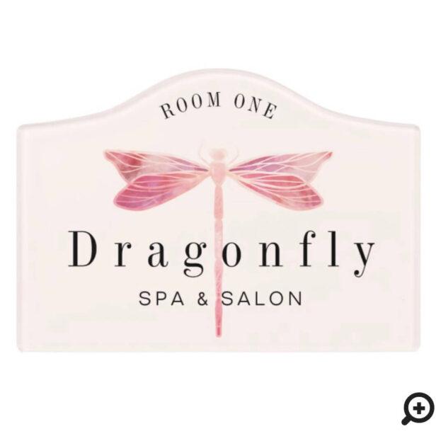 Elegant Blush Pink Watercolor Dragonfly Logo Room Door Sign