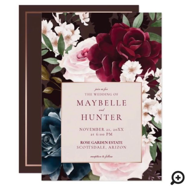 Elegant Bold Burgundy & Navy Watercolor Florals Invitation