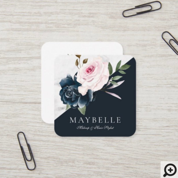 Elegant Burgundy & Marble Watercolor Floral Navy Square Business Card