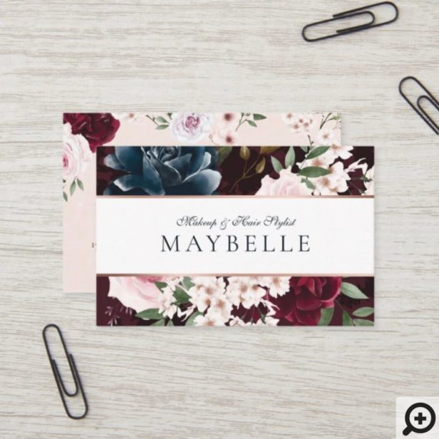 Elegant Burgundy & Navy Watercolor Floral Frame Business Card