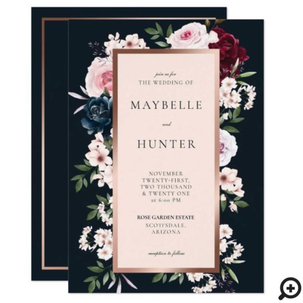 Elegant Burgundy & Navy Watercolor Floral Frame Invitation1
