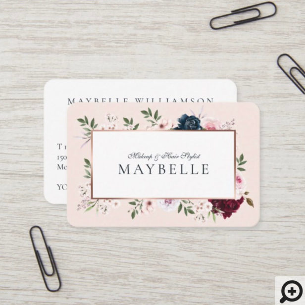 Elegant Burgundy & Navy Watercolor Floral Frame Pink Business Card