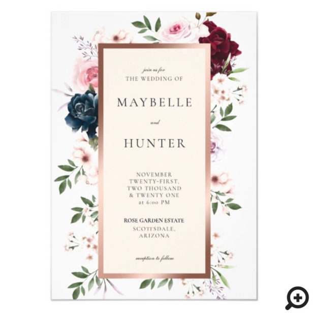 Elegant Burgundy & Navy Watercolor Floral Frame White Invitation
