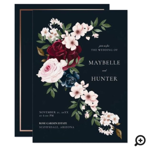 Elegant Burgundy Navy Watercolor Floral Waterfall Invitation