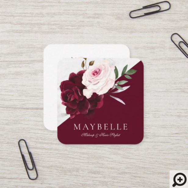 Elegant Burgundy & White Marble Watercolor Floral Square Business Card