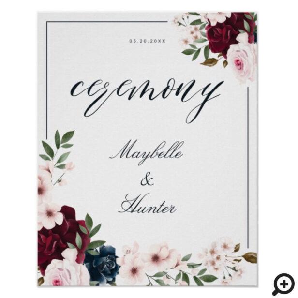Elegant Ceremony Watercolor Burgundy Navy Floral Poster
