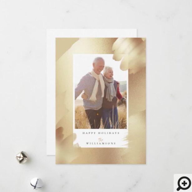 Elegant Chic Shimmer Gold Foil leaf Family Photo Holiday Card