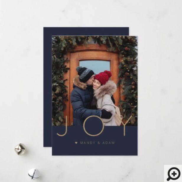 Elegant & Minimal Gold Joy Full Photo Holiday Card
